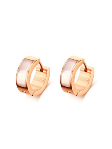 Fashionable Rose Gold Plated Shell Titanium Clip Earrings