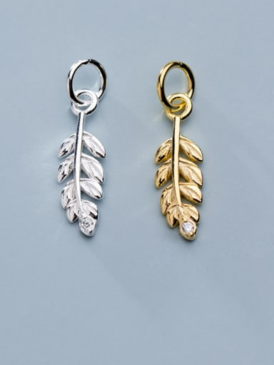 925 Sterling Silver With Cubic Zirconia  Simplistic Leaf Charms