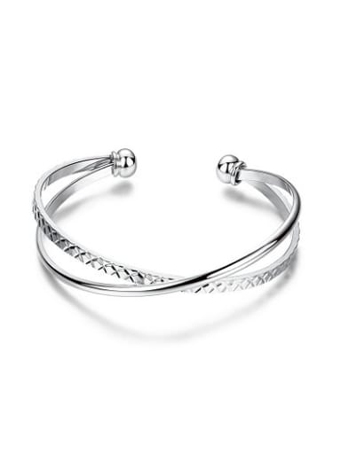 Exquisite White Gold Plated Cross Bangle