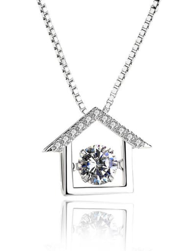 Fashion Little House Cubic Rotatable Zircon 925 Silver Pendant