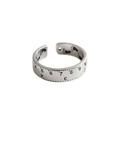 925 Sterling Silver With Platinum Plated  Retro Scale Ruler Free Size Rings