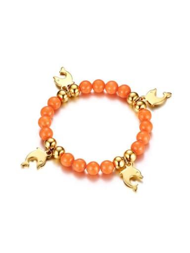 Fashionable Dolphin Shaped Orange Stone Titanium Bracelet