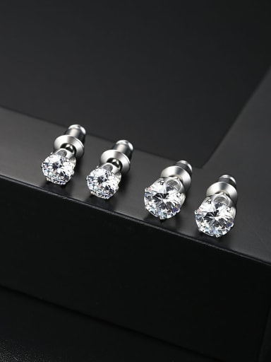 Copper inlaid AAA zircon 5mm 6mm simple classic studs earring