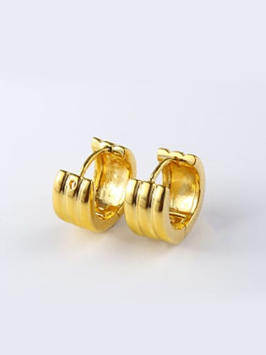 Ethnic style Smooth Gold Plated Clip Earrings
