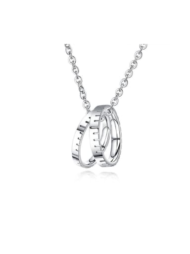 Titanium With White Gold Plated Personality  Double Round Mens Necklaces