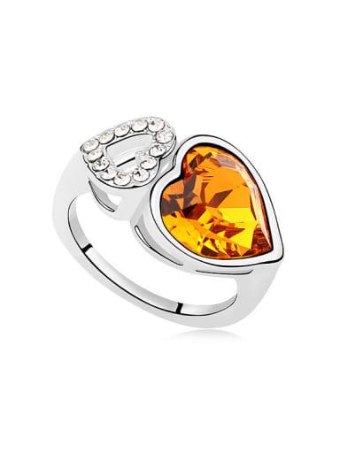 Fashion Double Heart Swaroski Crystal Alloy Ring