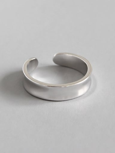 925 Sterling Silver With White Gold Plated Simplistic Geometric Rings