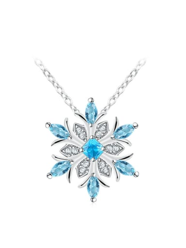 Exquisite Blue Snowflake Shaped Women Necklace