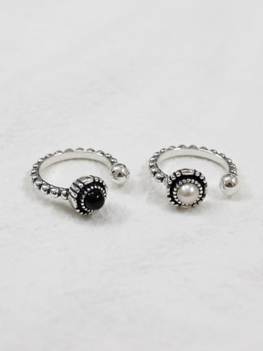 925 Sterling Silver With Silver Plated Personality old beaded edges Free Size Rings