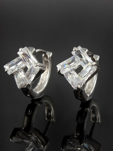 Delicate White Gold Plated Square Shaped Zircon Clip Earrings