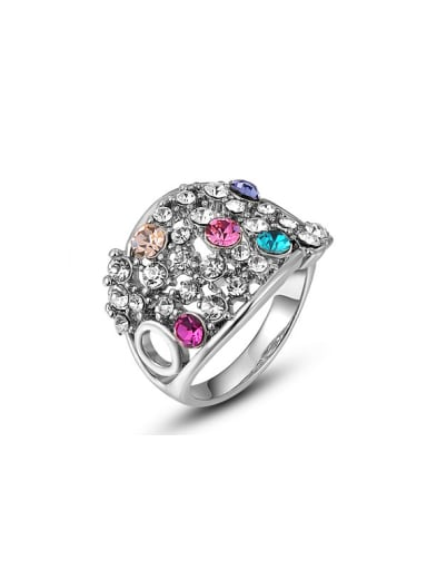 Colorful Austria Crystal Platinum Plated Ring