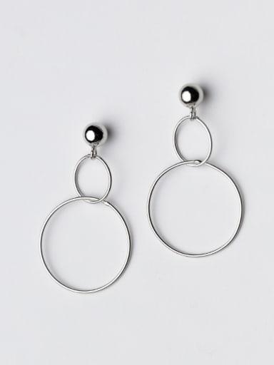 Fresh Double Round Shape S925 Silver Drop Earrings