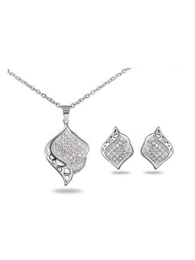 Creative Leaf Shaped Zircon Two Pieces Jewelry Set