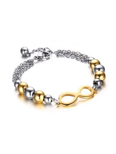 Delicate Gold Plated Number Eight Shaped Titanium Bracelet
