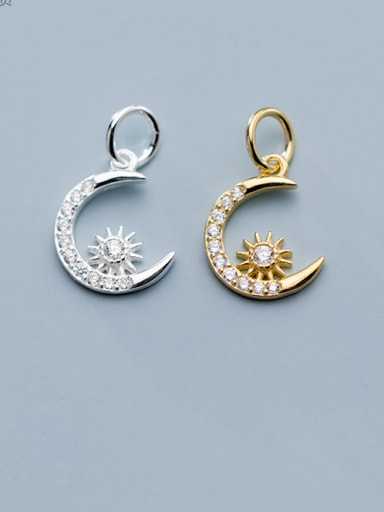 925 Sterling Silver With  Cubic Zirconia Personality Moon Charms