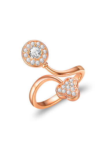 Elegant Clover Shaped Rose Gold Plated Zircon Ring