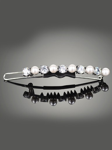 Simple Artificial Pearls White Zirconias Copper Hairpin