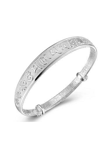 999 Silver Scriptures-etched Adjustable Bangle