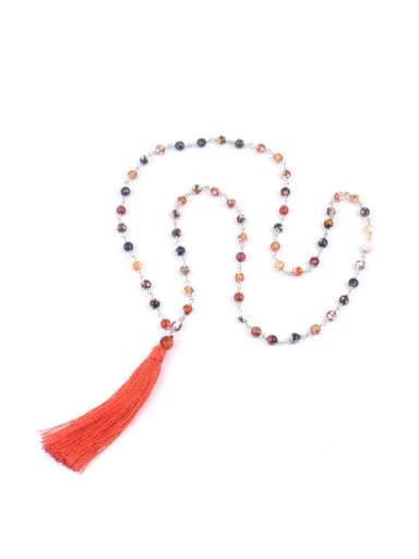 Color Agate Beads Tassel Long Necklace