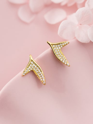 925 Sterling Silver With Gold Plated Simplistic Mermaid Fishtail Stud Earrings