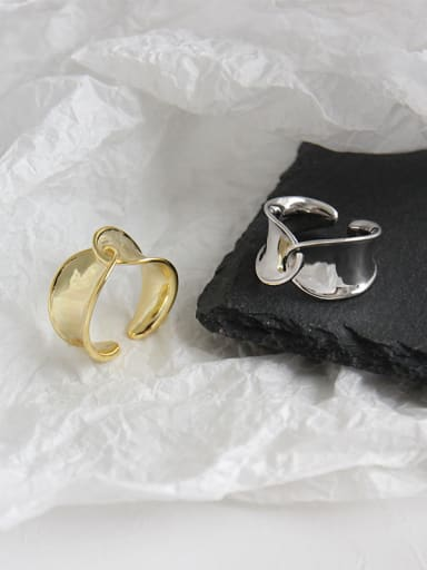 925 Sterling Silver With Platinum Plated Simplistic Twisted woven Free Size Rings