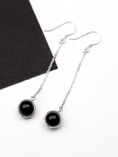 Fashion Black Carnelian Drop Earrings