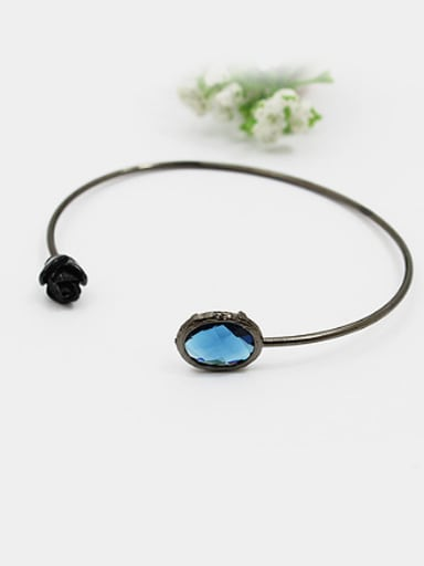 Women Retro Black Rose Glass Bangle