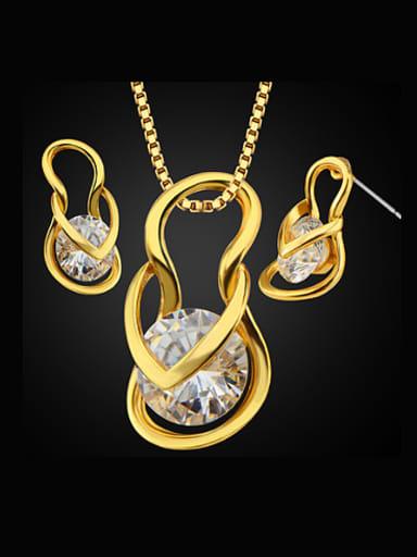 18K Fashion Flip Flops Zircon Two Pieces Jewelry Set