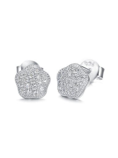Tiny Shiny Zirconias-covered Star 925 Silver Stud Earrings