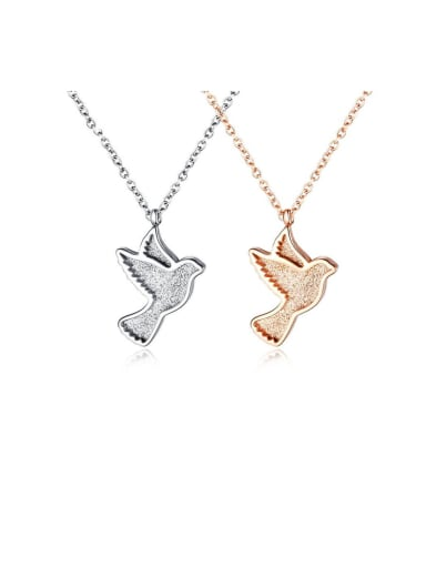 Titanium With Rose Gold Plated Simplistic Insect Little Bird Necklaces