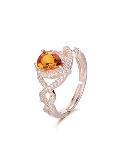 Fashion Citrine Gemstone Zircon Cocktail Ring