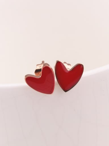 Red Enamel Heart Shaped Stud Earrings