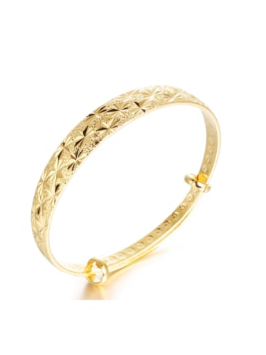 18K Gold Plated Simple Adjustable Women Bangle