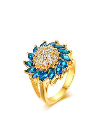 Exquisite Gold Plated Blue Flower Shaped Copper Ring