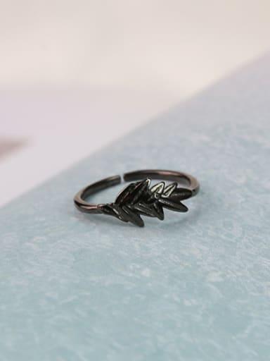 Retro Black Leaf Silver Ring