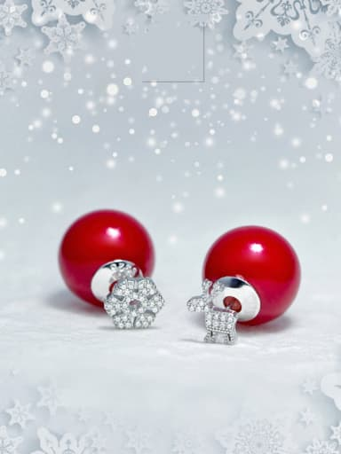 S925 Silver Snowflake Deer Artificial  Red Pearl Christmas stud Earring