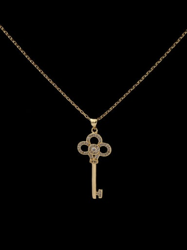 Flower Key Copper Necklace