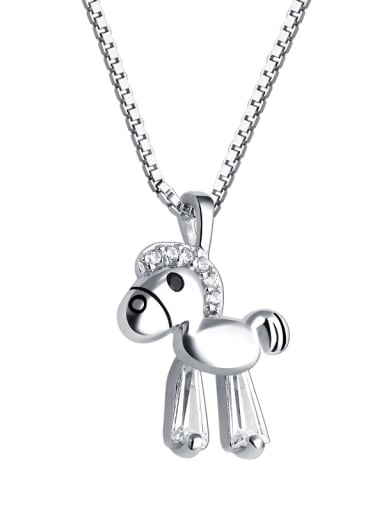 925 Sterling Silver With Cubic Zirconia Cute Animal Trojan Necklaces
