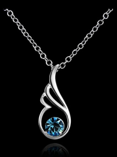 Elegant Hollow Angel Wing Blue Crystal 925 Sterling Silver Pendant