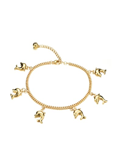 Fashion Little Dolphins Gold Plated Anklet