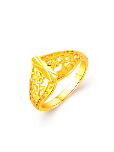 Fashionable 24K Gold Plated Flower Shaped Copper Ring