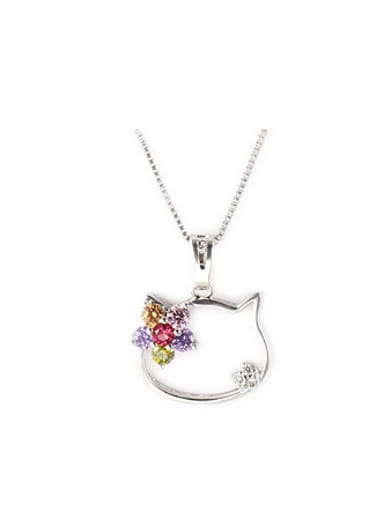 Fashion Hollow Kitty Zircon Necklace