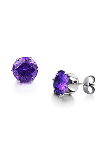 Tiny Purple Zircon Titanium Stud Earrings