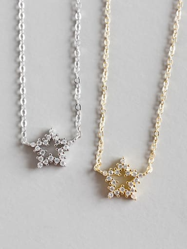 925 Sterling Silver With Cubic Zirconia Fashion Star Necklaces