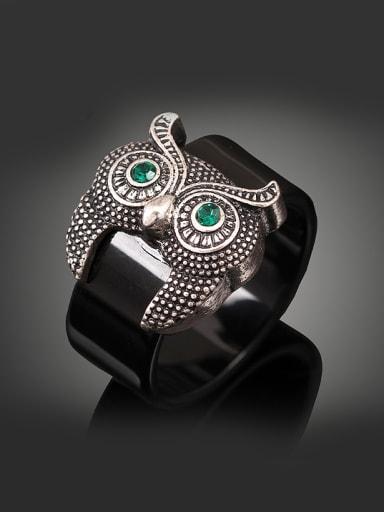 Personalized Owl Black Acrylic Band Alloy Ring