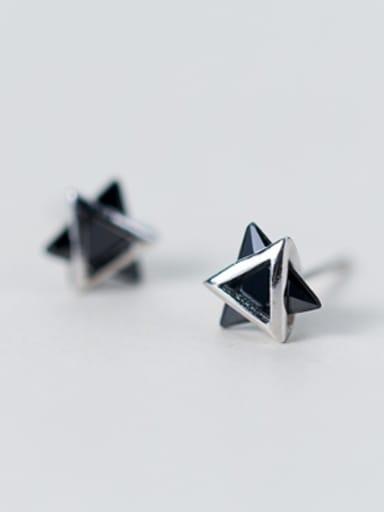 S925 silver simple triangle flexible zircon stud Earring