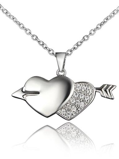 Creative Double Heart Shaped Zircon Necklace
