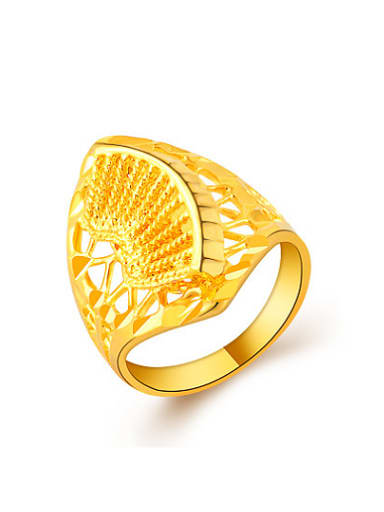 All-match 24K Gold Plated Fan Shaped Copper Ring