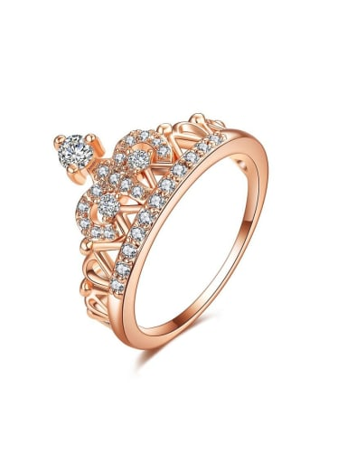 Copper WithCubic Zirconia Fashion Crown Band Rings