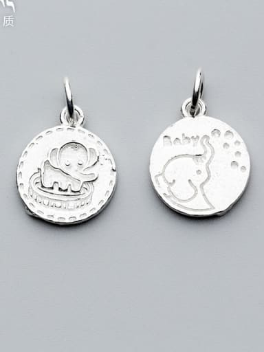 925 Sterling Silver With Silver Plated Cartoon elephant Round Charms